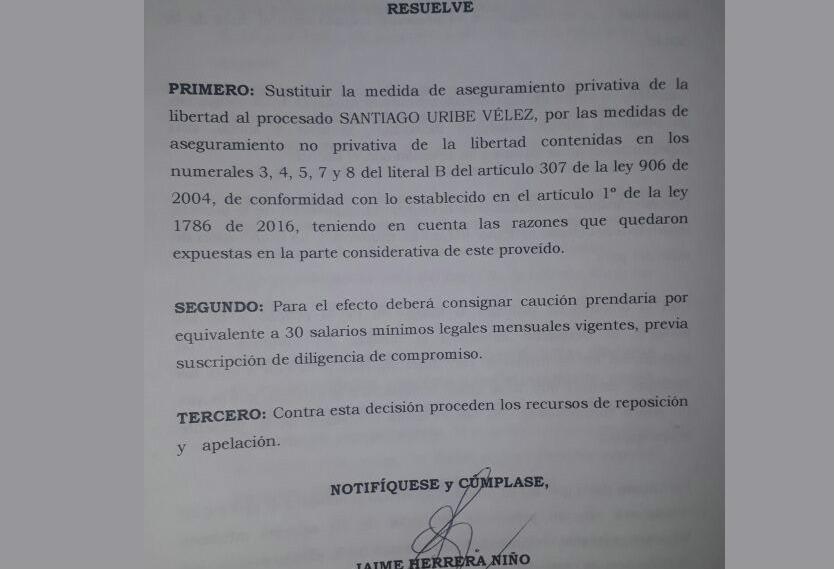 Fallo Santiago Uribe