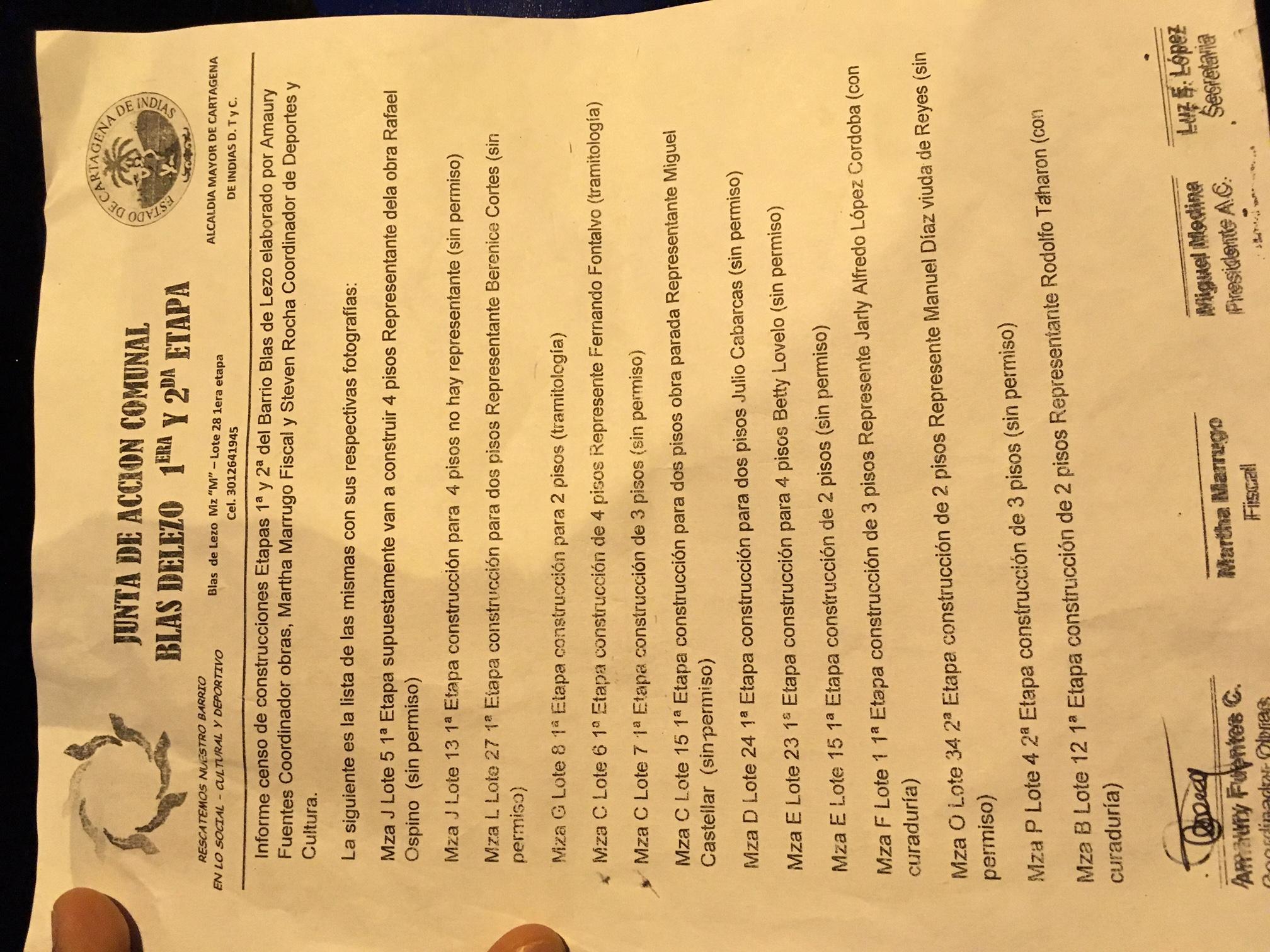 Lista de algunas construcciones ilegales.