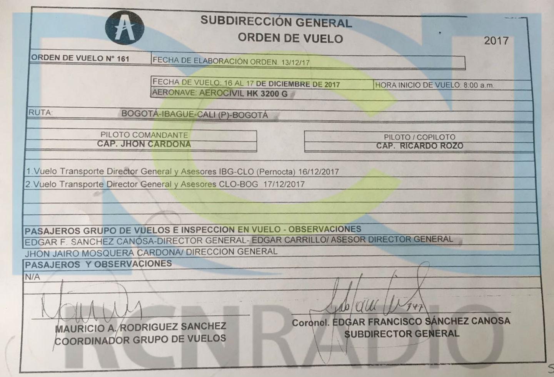 Orden de vuelo del viaje del subdirector de la Aerocivil