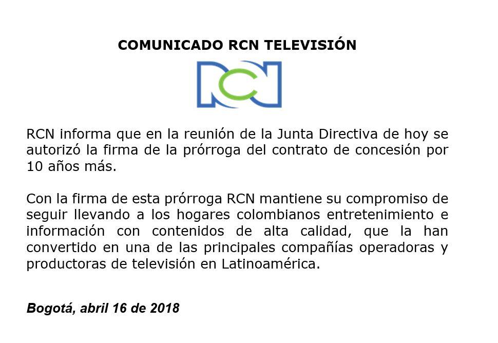 Comunicado RCN TV