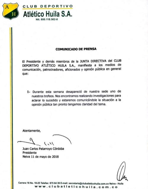 Comunicado Atlético Huila