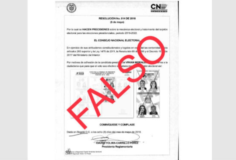 Circular falsa de voto por Iván Duque