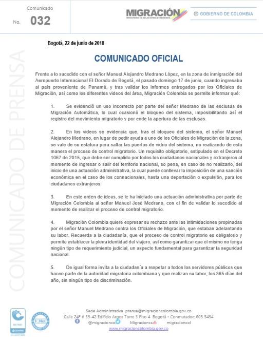 Comunicado de Migración Colombia sobre caso de Manuel Medrano