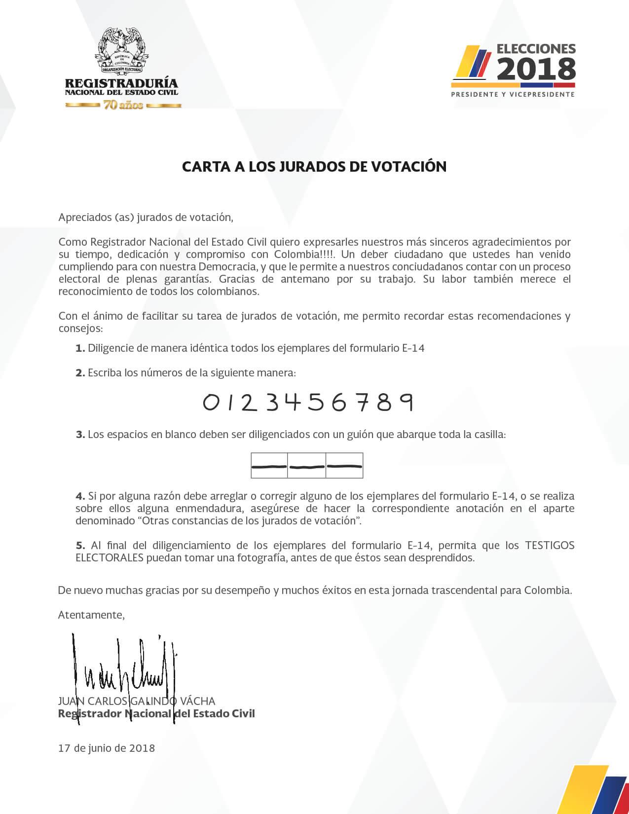 Recomendaciones a los jurados de votación por parte del registrador Juan Carlos Galindo