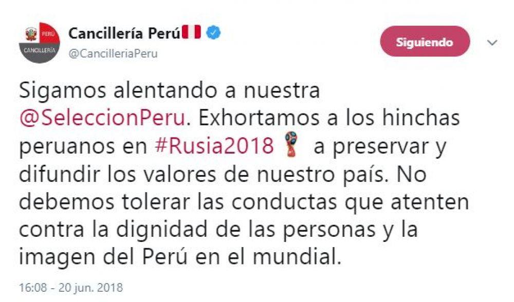 El trino de la Cancillería de Perú