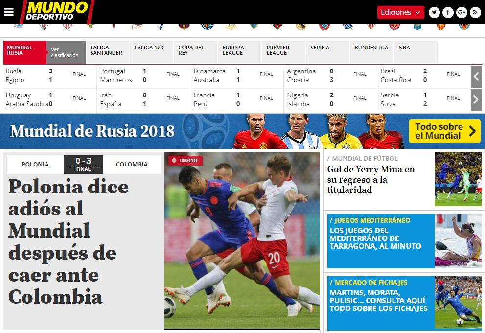 Titular del diario Mundo Deportivo sobre Yerry Mina