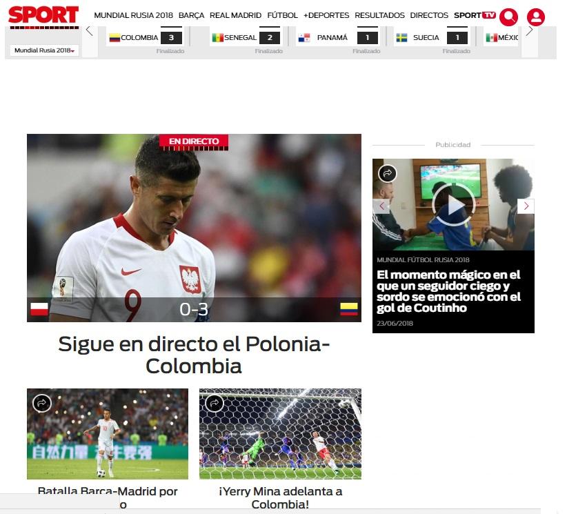 Titular del Diario Sport en Barcelona sobre gol de Yerry Mina