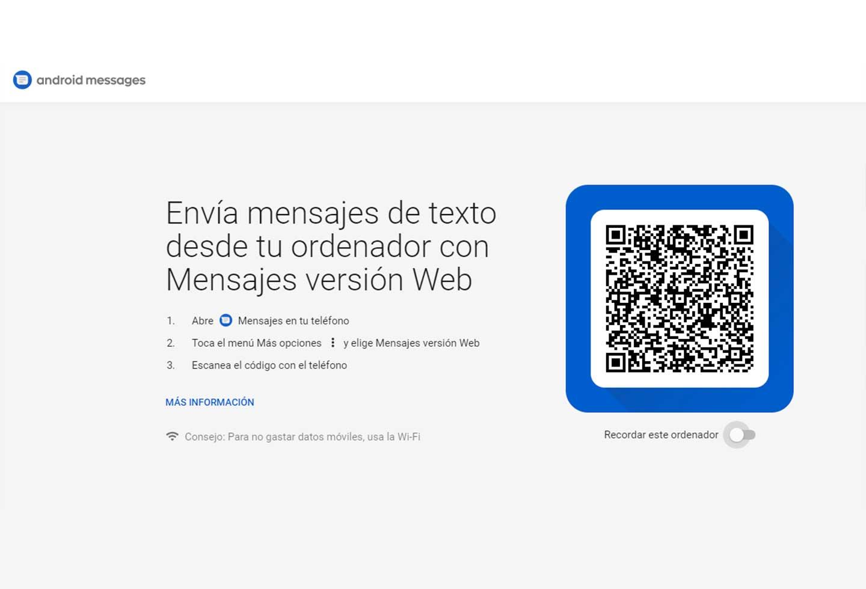 Andorid Messages Código QR