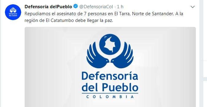 Twitter de la Defensoría del Pueblo