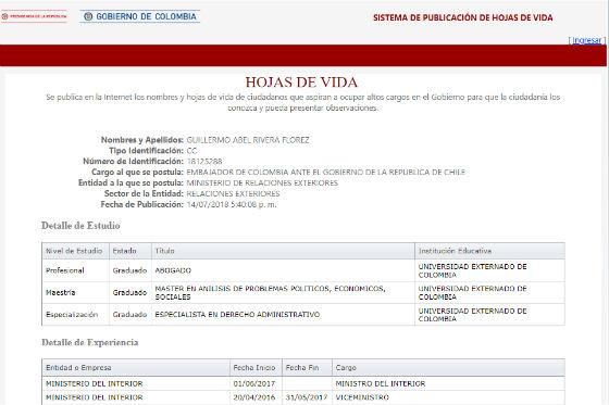 La presentación en la página de Presidencia de Guillermo Rivera para embajador en Chile