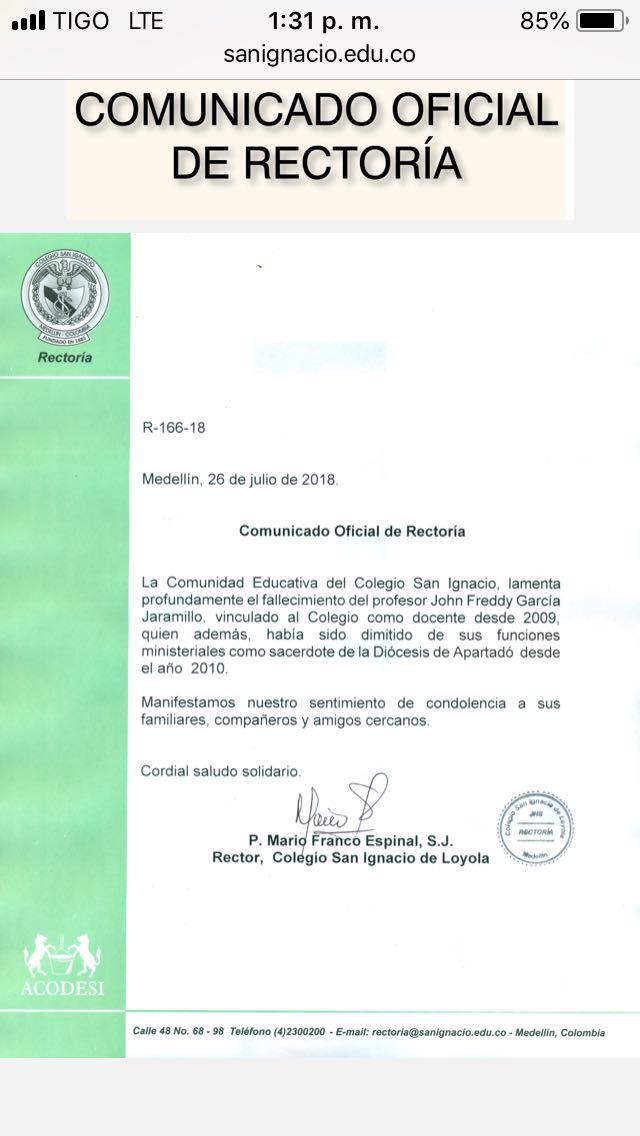 Comunicado Colegio San Ignacio de Medellín.