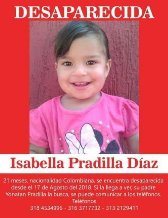 Isabela Pradilla Díaz, de 21 meses, desapareció en Bogotá