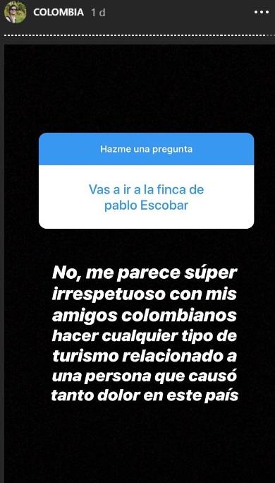 Respuesta de Alan Estrada por medio de su cuenta en Instagram
