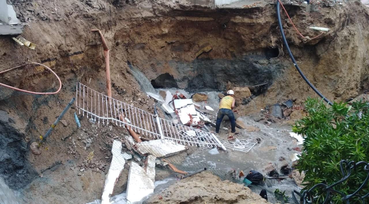 Obras de canalización afectadas, terrazas afectadas barrio la victoria