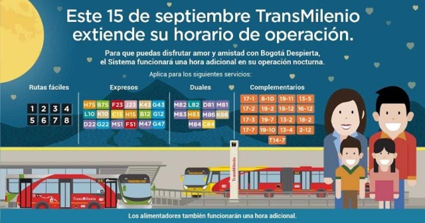 Cambio de horario de Transmilenio Bogotá Despierta