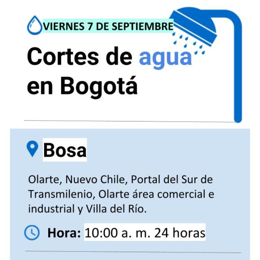 Cortes de agua viernes 7 de septiembre en Bogotá