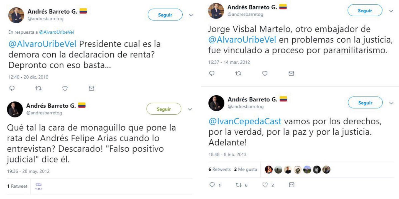 Los trinos de Andrés Barreto contra el uribismo