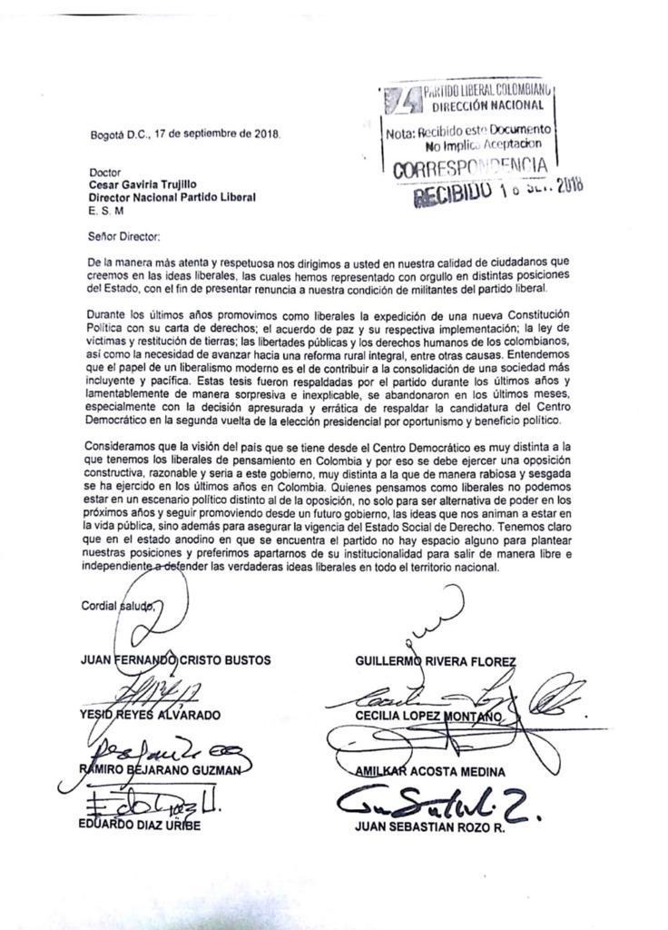Carta de renuncia a César Gaviria.