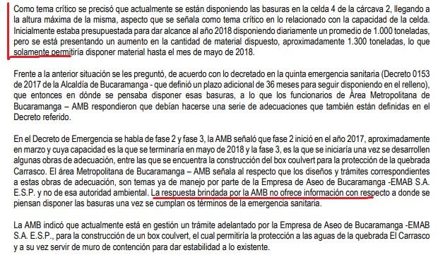 Documento del último seguimiento de la Anla a El Carrasco.
