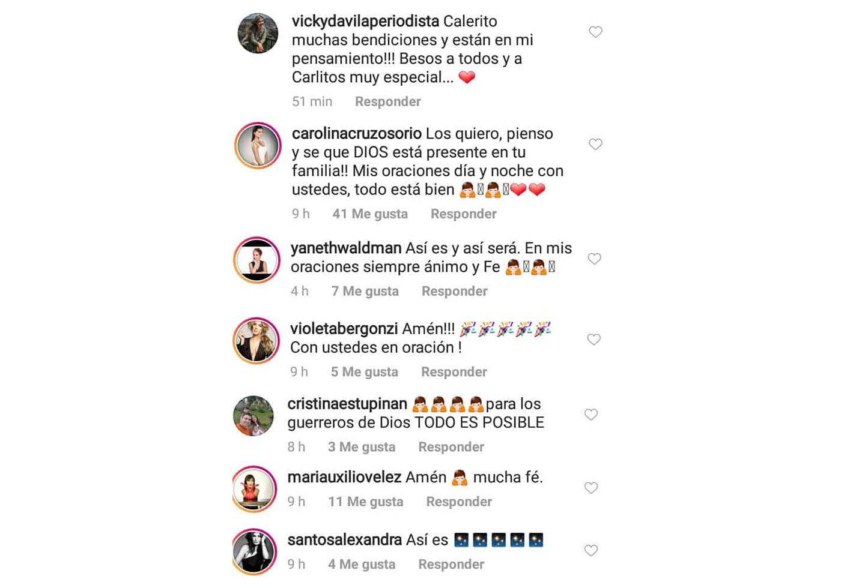 Fotografía de mensajes de famosos a Carlos Calero