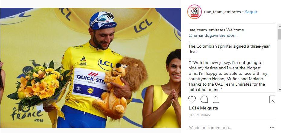 Fernando Gaviria, nuevo ciclista del UAE Team Emirates
