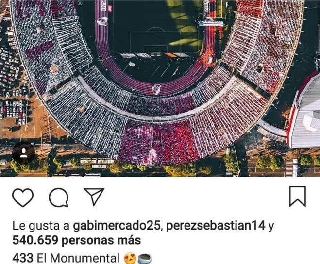 Captura de pantalla del 'me gusta' de Sebastían Pérez al estadio Monumental de River