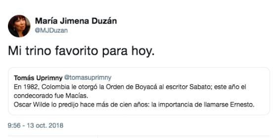 El trino de María Jimena Duzán contra Ernesto Macías