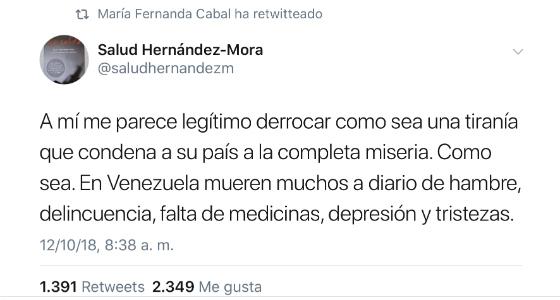 El trino de Salud Hernández