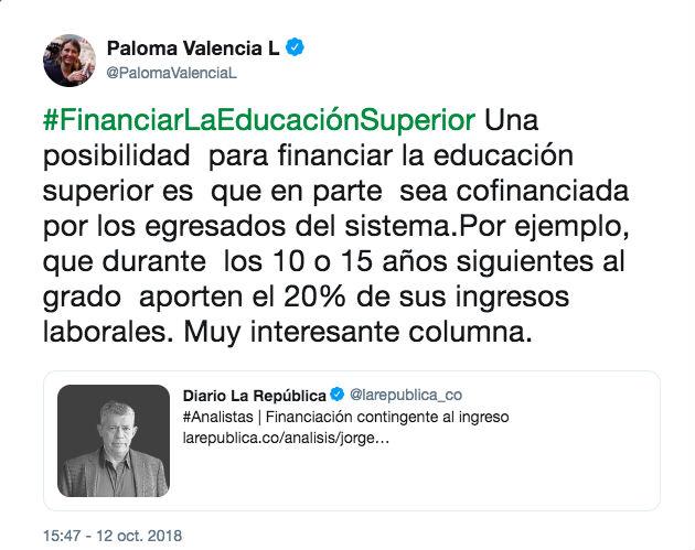 El trino de Paloma Valencia sobre cofinanciación de la educación pública