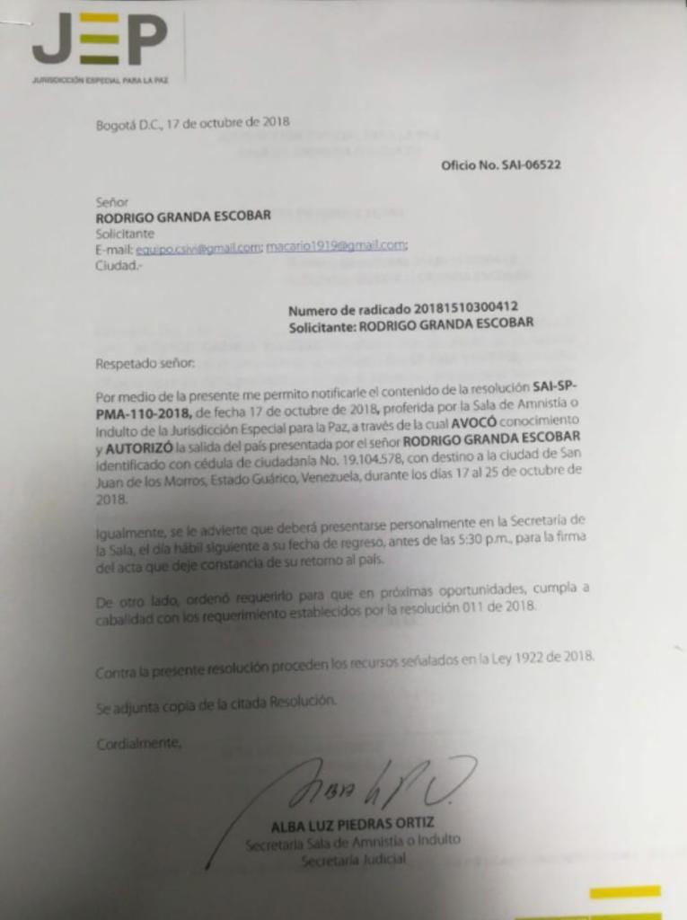 Aval de la JEP para Rodrigo Granda en Venezuela