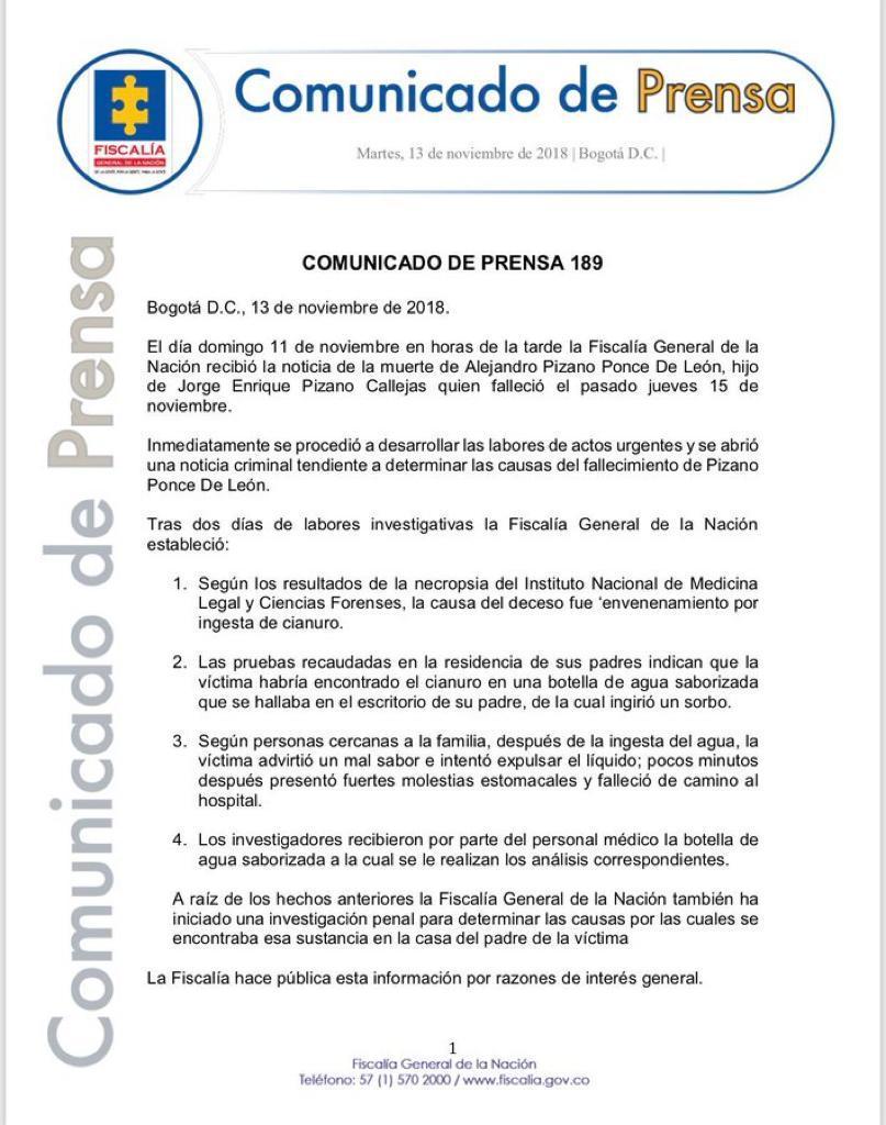 Comunicado Alejandro Pizano