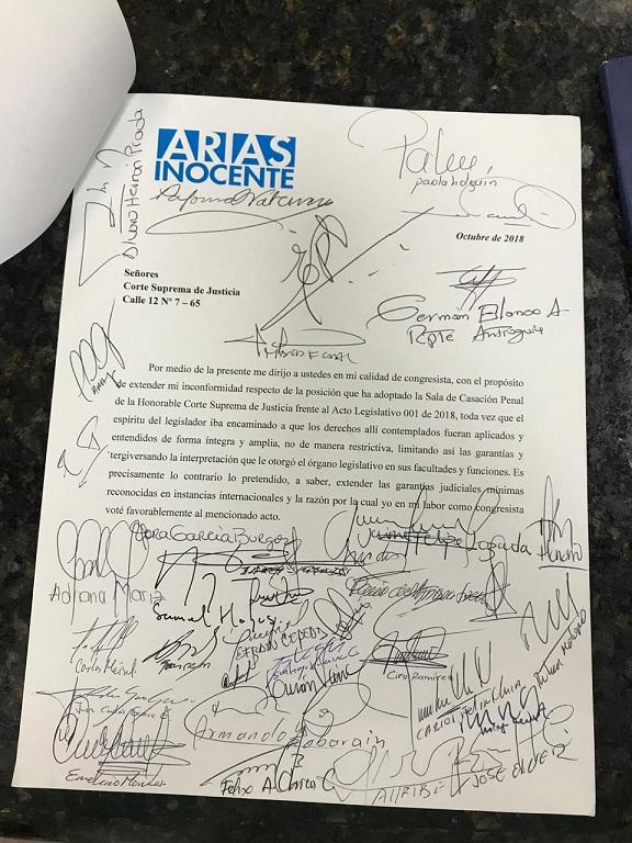 Carta congresistas Andrés Felipe Arias