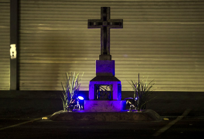 Vista de un cenotafio en honor al señor de la droga mexicano, Joaquín 'El Chapo' Guzmán.