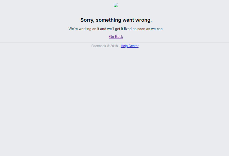 La imagen de Facebook caído