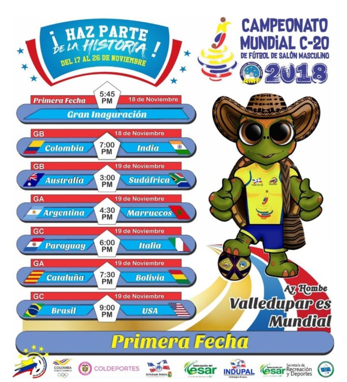 Mundial Fut Sala C20: Calendario
