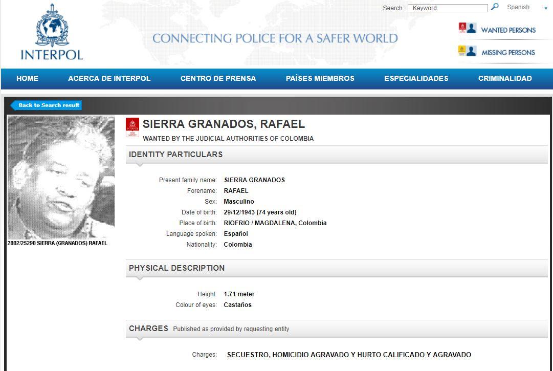 Circular roja contra 'Ramiro Vargas'