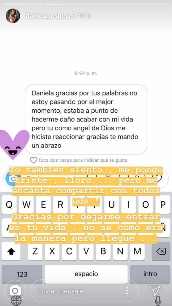Daniela Ospina respondió a un mensaje de gratitud de un fan