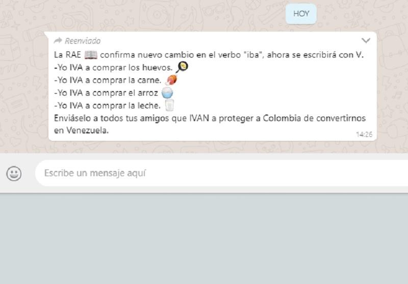 Cadena de WhatsApp que se mofa del IVA en la Canasta Familia