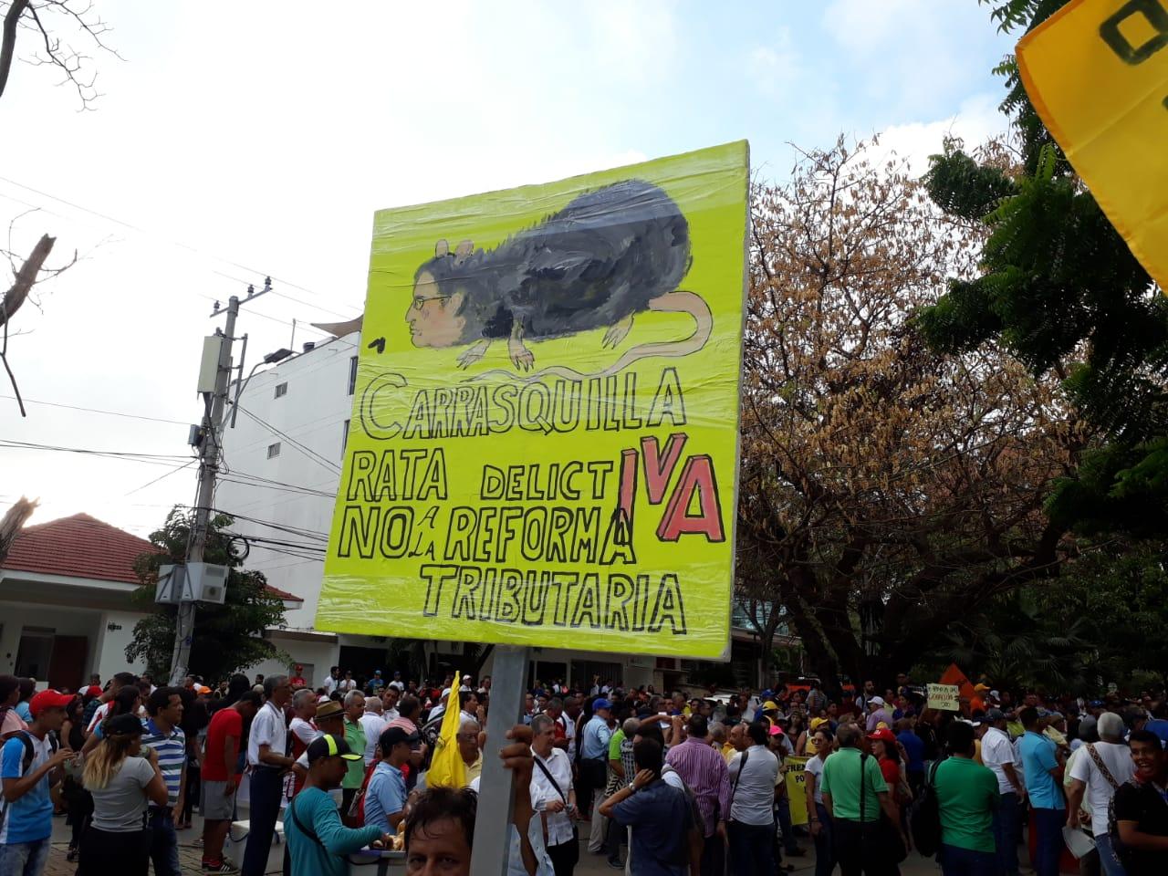 Manifestaciones en Barranquilla de estudiantes universitarios.