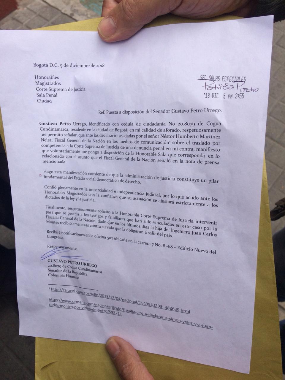 Carta de Petro