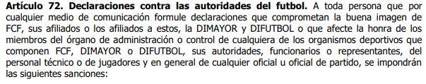 Artículo 72 del código disciplinario de la Dimayor