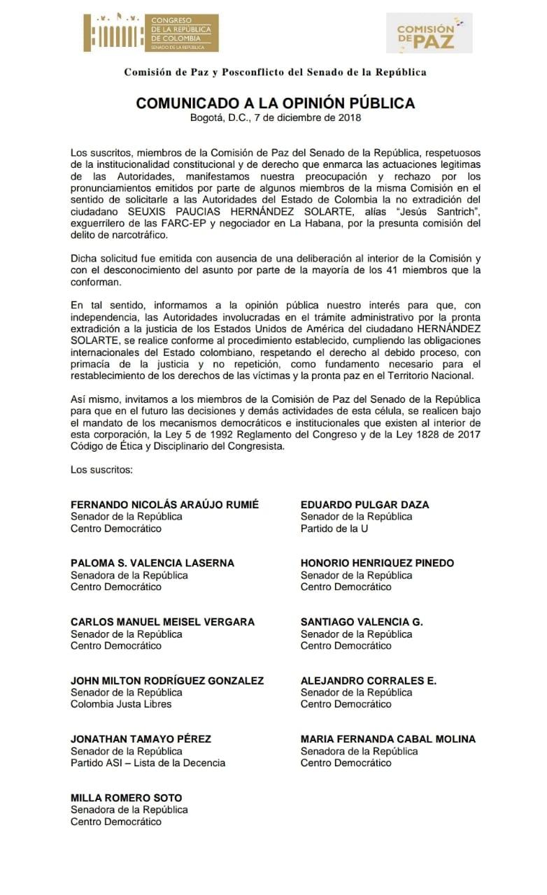 Comunicado Uribismo Comisión de Paz