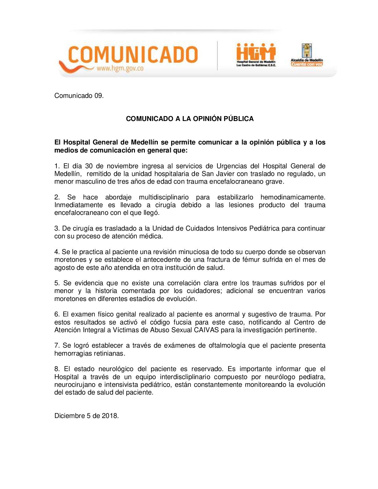 Comunicado Hospital General.