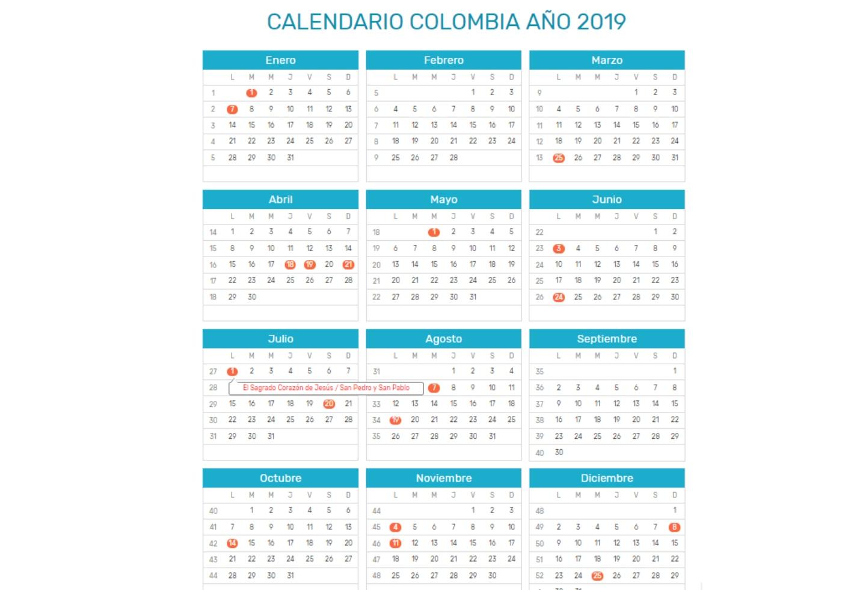 Calendario Colombia 2019 Octubre.Un 2019 Con Menos Dias Festivos En Colombia Esta Es La