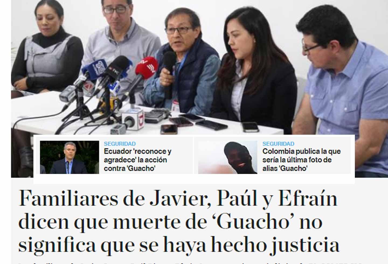 El Comercio destacó la noticia colombiana dentro de su home.