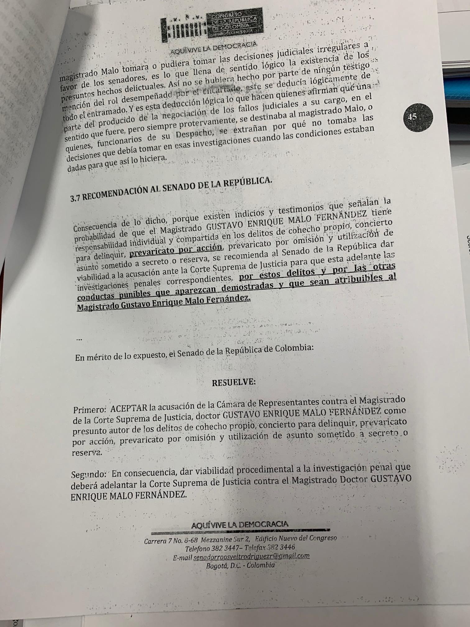 Informe Comisión de Instrucción caso Malo