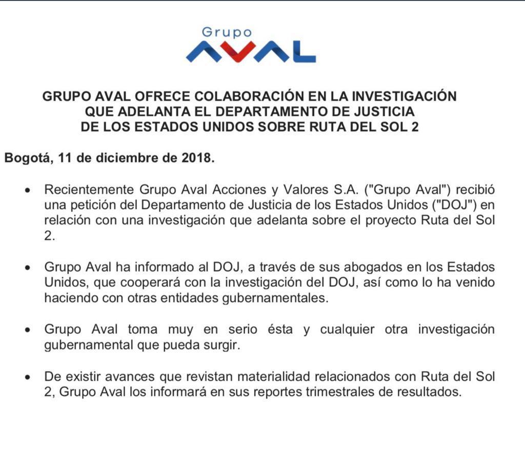 Comunicado Grupo Aval Estados Unidos