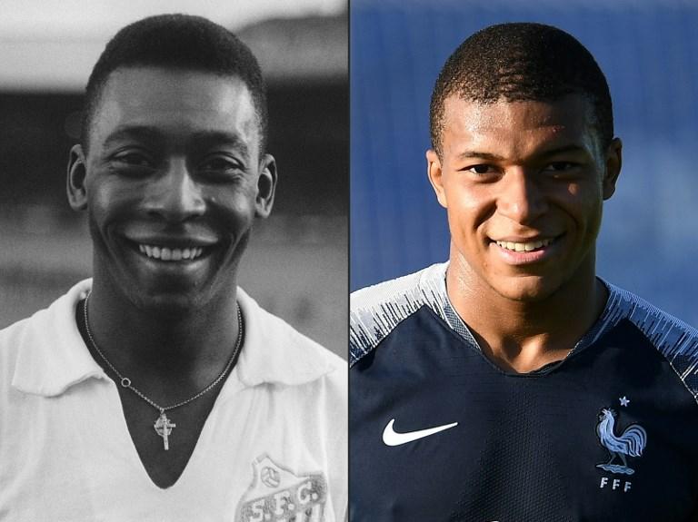 Edson Arantes do Nascimento, Pelé (izq) y Kylian Mbappé (der)