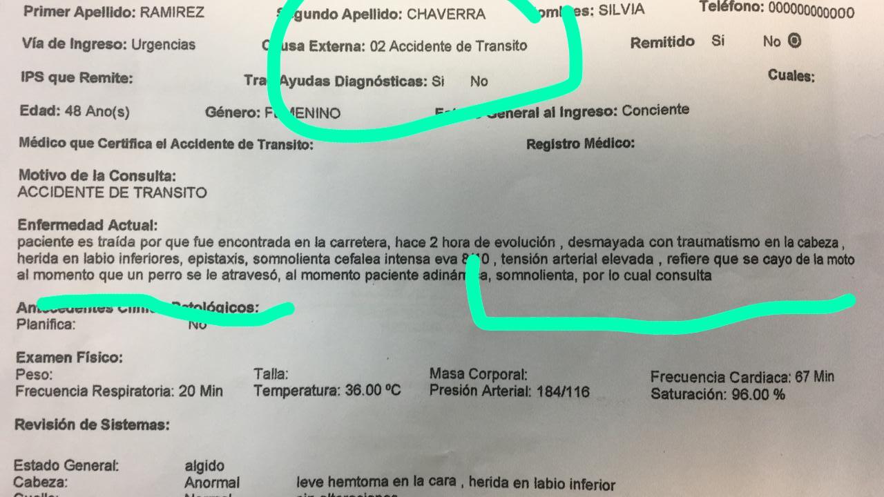 Reporte médico de la líder social Maritza Ramírez Chaverra