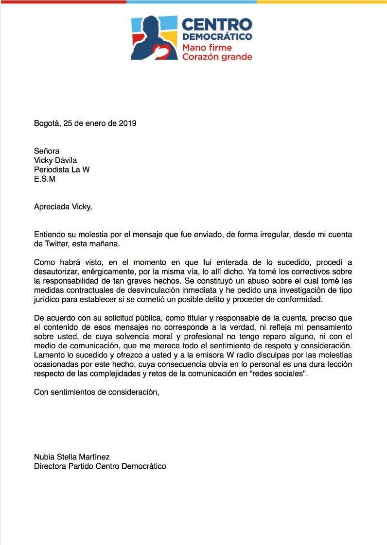 Carta de Nubia Stella Martínez a Vicky Dávila